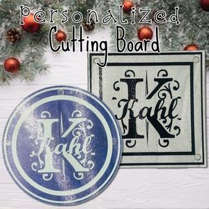 Personalized Monogram and Name Glass Cutting Board